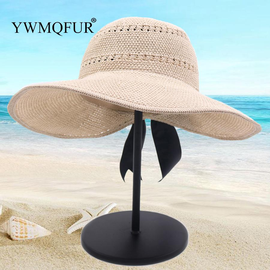 0635707f YWMQFUR 2019 New Bowknot Straw Hat Adult Summer Sunscreen Leisure Cap Wide  Brim Knitted Sun Cap Foldable Beach Hat Fishing Hats Funny Hats From  Sara001, ...