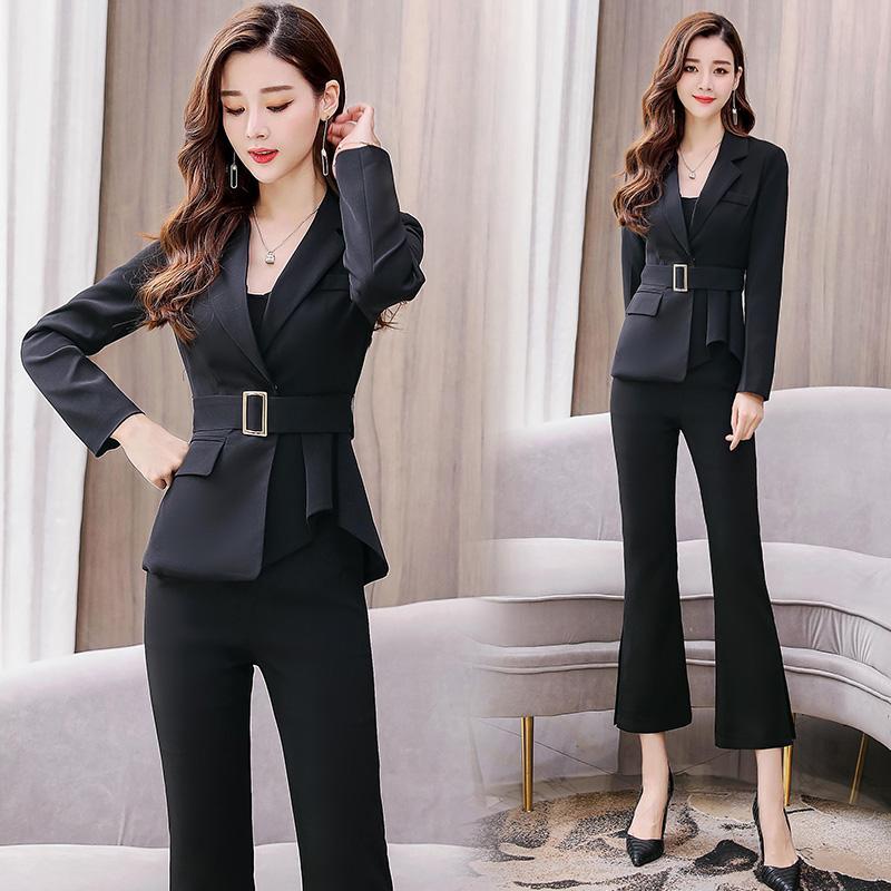 63bd8b99a YASUGUOJI nuevo 2019 trajes de negocios de primavera para mujer trajes para  mujer conjunto 2 piezas pantalones de mujer con cinturón pantalón de ...
