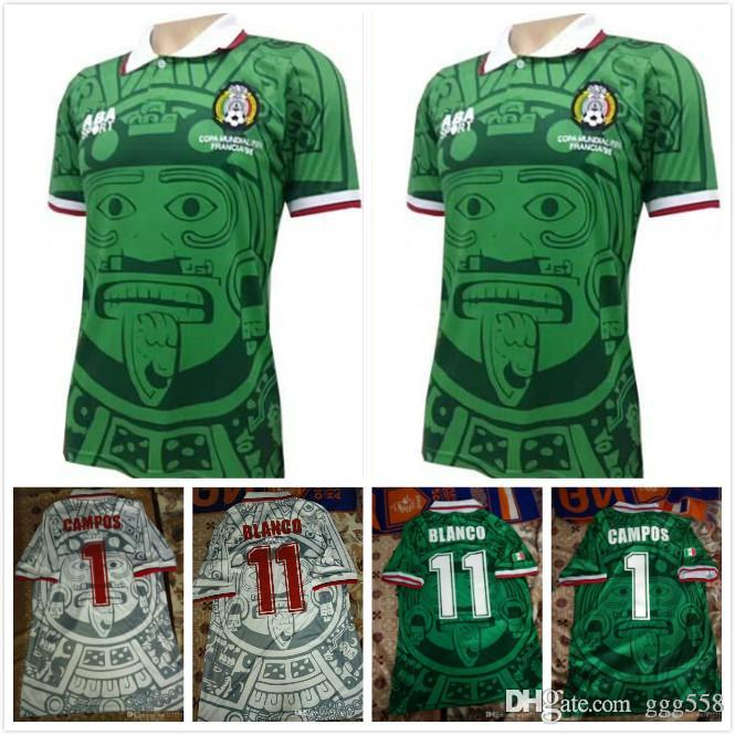 a751fbfe9 2019 1998 Mexico World Cup Classic Vintage Retro Jersey Campos Hernandez  BLANCO Custom Home Green White Mexico Football Shirt Camiseta Futbol From  Ggg558