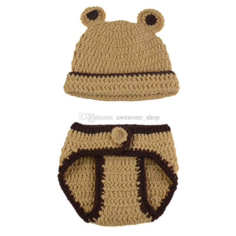 53609f2a8 2019 Adorable Baby Bear Newborn Outfits,Handmade Knit Crochet Baby Boy Girl  Animal Bear Beanie And Diaper Cover Set,Infant Halloween Photo Prop From ...