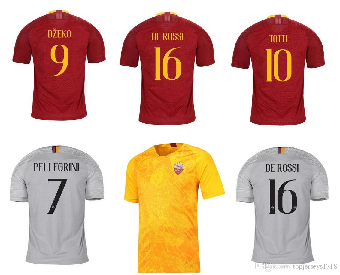 897a4ed64d85c 2019 18 19 Roma Soccer Jerseys Camisetas De Futbol DZEKO TOTTI DE ROSSI  Calcio Maglia Italia Serie A COLE CASTAN LJAJIC Grey 3rd Yellow Shirts From  ...