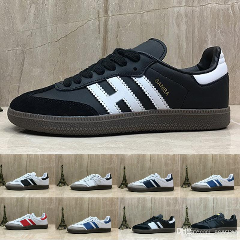 huge discount 4386a 2efc3 Acheter Adidas Shoes Nouveau Samba Formateurs Hommes Chaussures De Course  Designer De Mode Marque Cuir Gazelle Og Noir Blanc Rose Hommes Runner  Femmes ...