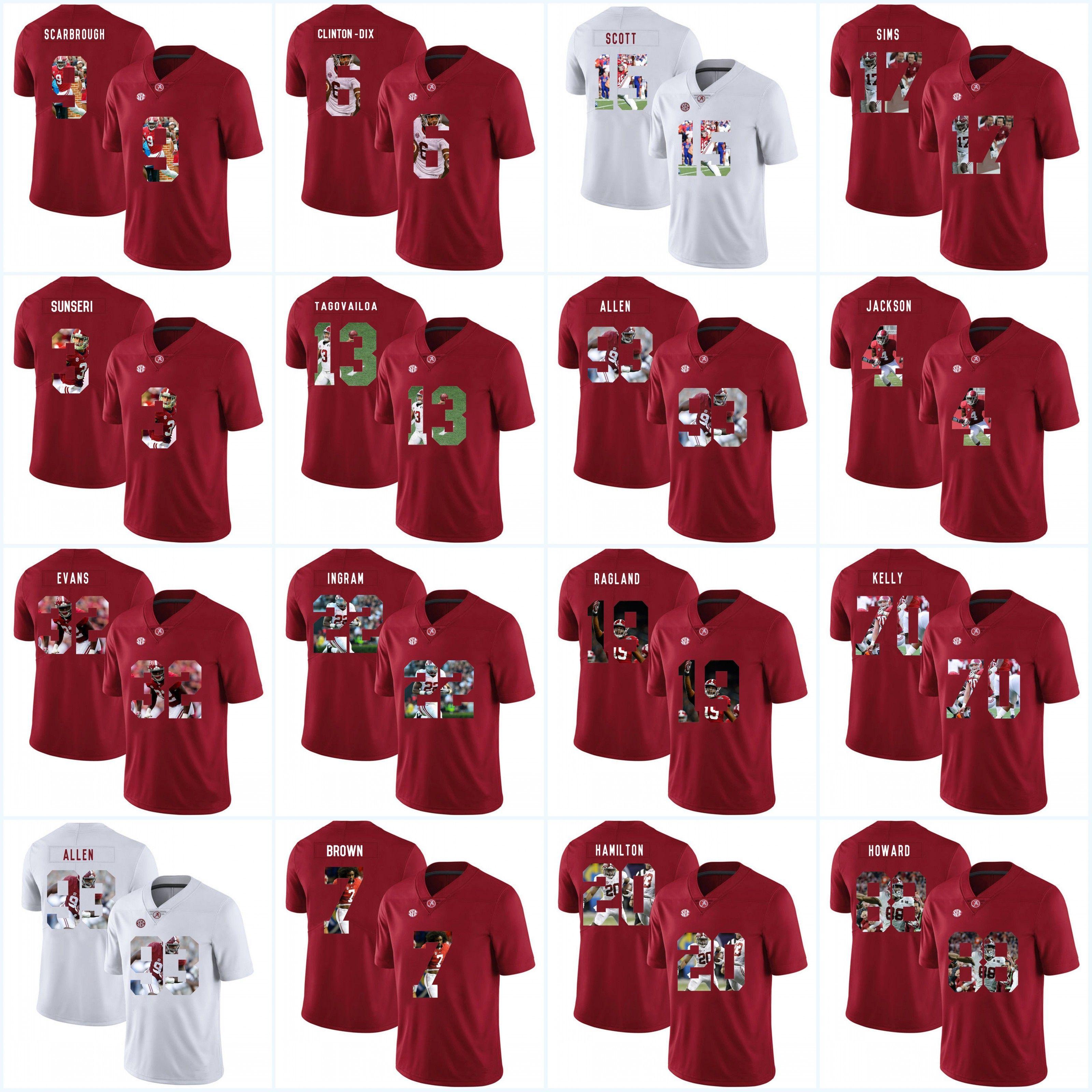 7f2d92f03 2019 Jonathan Allen Mens Alabama Crimson Tide NCAA Jersey 3 Vinnie Sunseri 13  Tua Tagovailoa 4 T.J. Yeldon 70 Ryan Kelly College Football Jerseys From ...