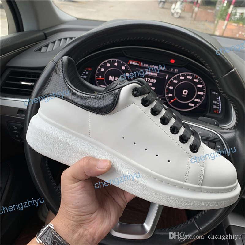 2019 Mens Designer shoes white leather 3M reflective casual for girl women black gold red fashion comfortable flat sports sneaker size 35-46