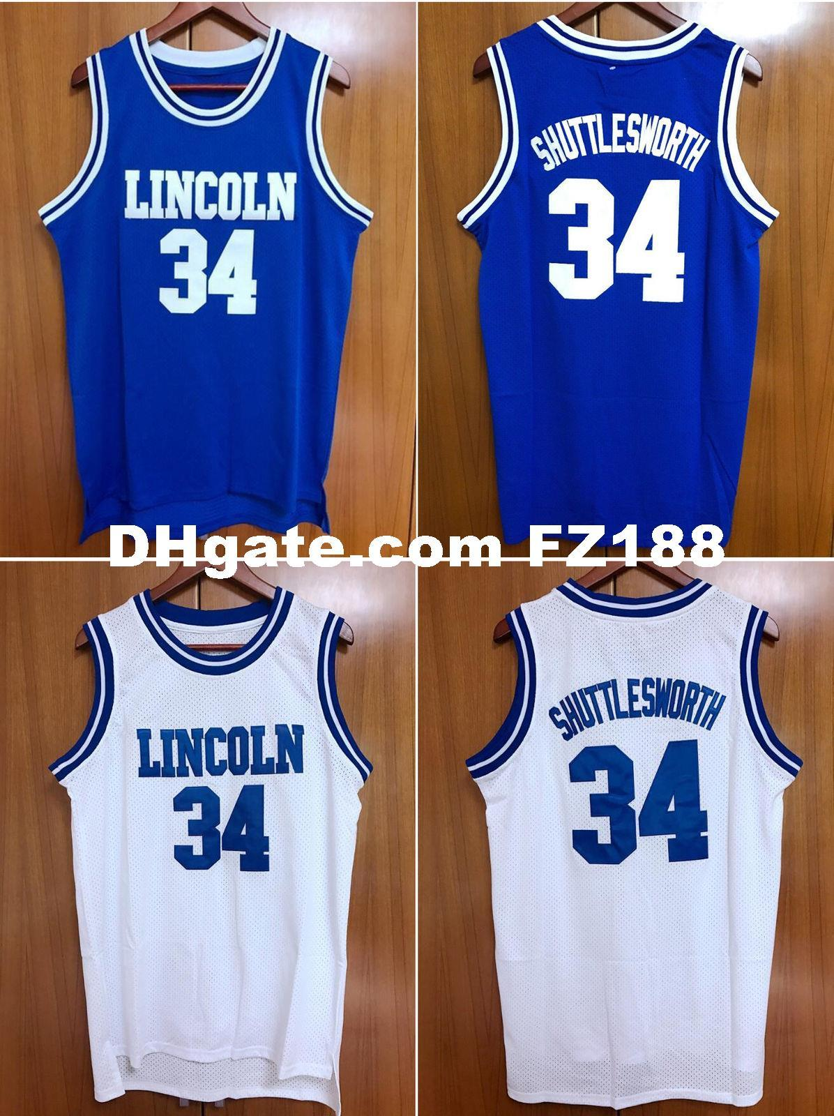 e7817eb86fca 2019 Jesus Shuttlesworth  34 Lincoln He Got Game Blue White Jersey XS 6XL  From Diyjerseys