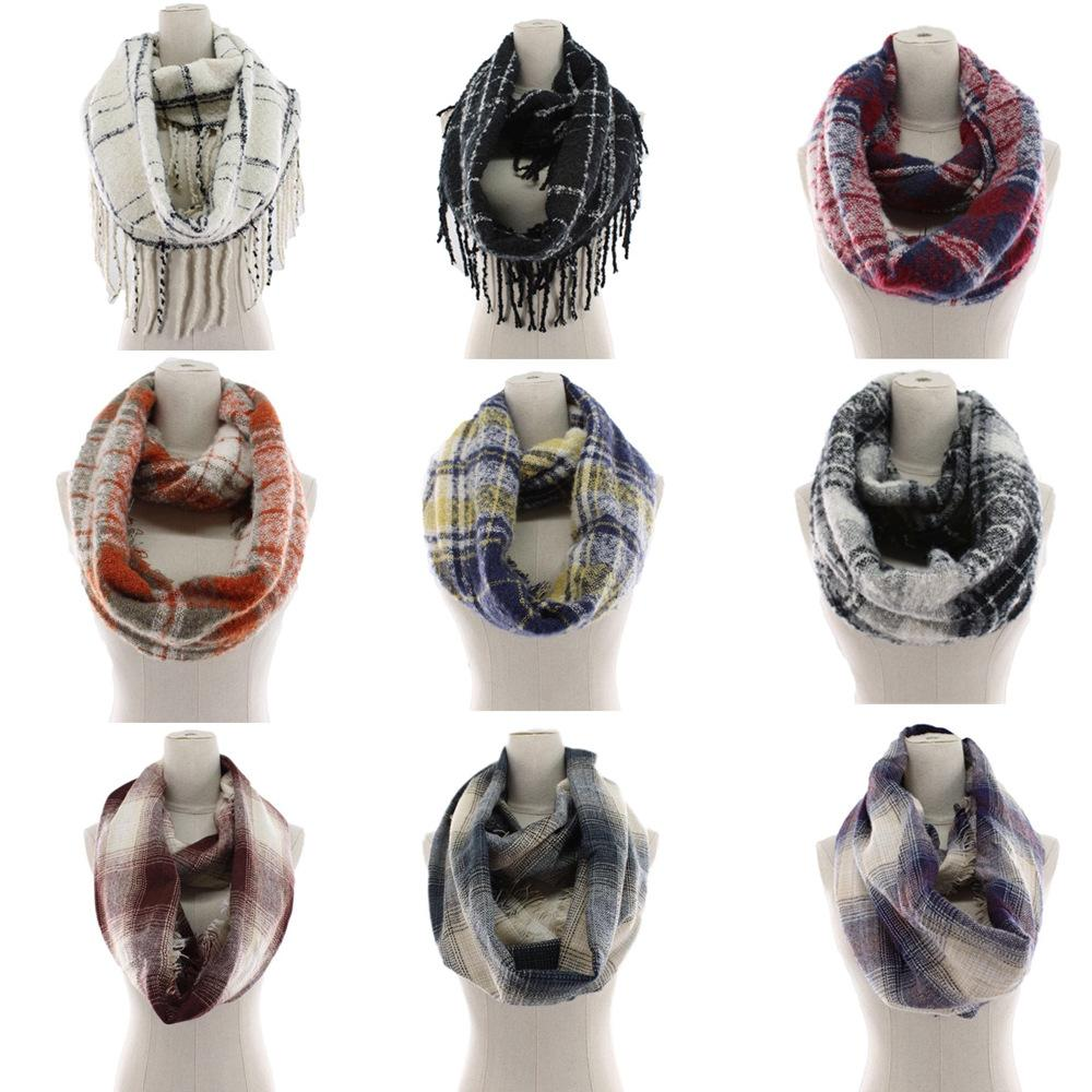 Plaid Scarf Ring Girls Shawl 65*160cm infinity scarf Grid Wraps Lattice round Neck Scarves Tassel Pashmina Winter Neckerchief LJJA2965