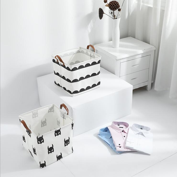 INS foldable storage bucket top waterproof bathroom dirty clothes laundry storage box cotton and linen children's toy storage bag