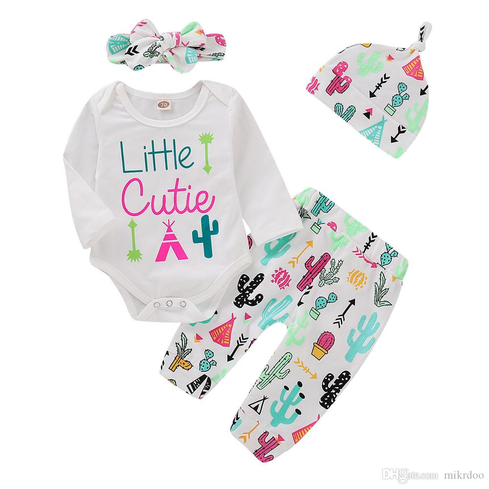 9fb763f5652 2019 Mikrdoo Newborn Infant Baby Boys Girls Cute Clothes Set Colorful Cactus  Print Long Sleeve Romper Pant With Hat Headband Outfit From Mikrdoo