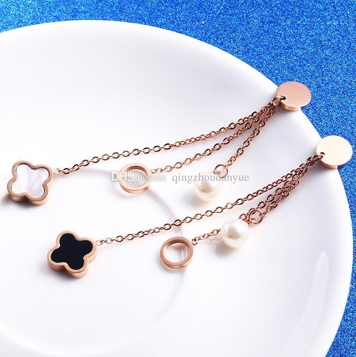 Jewelry & Watches Rose Gold Four Leaf Clover Anklet 18k Gold Plated