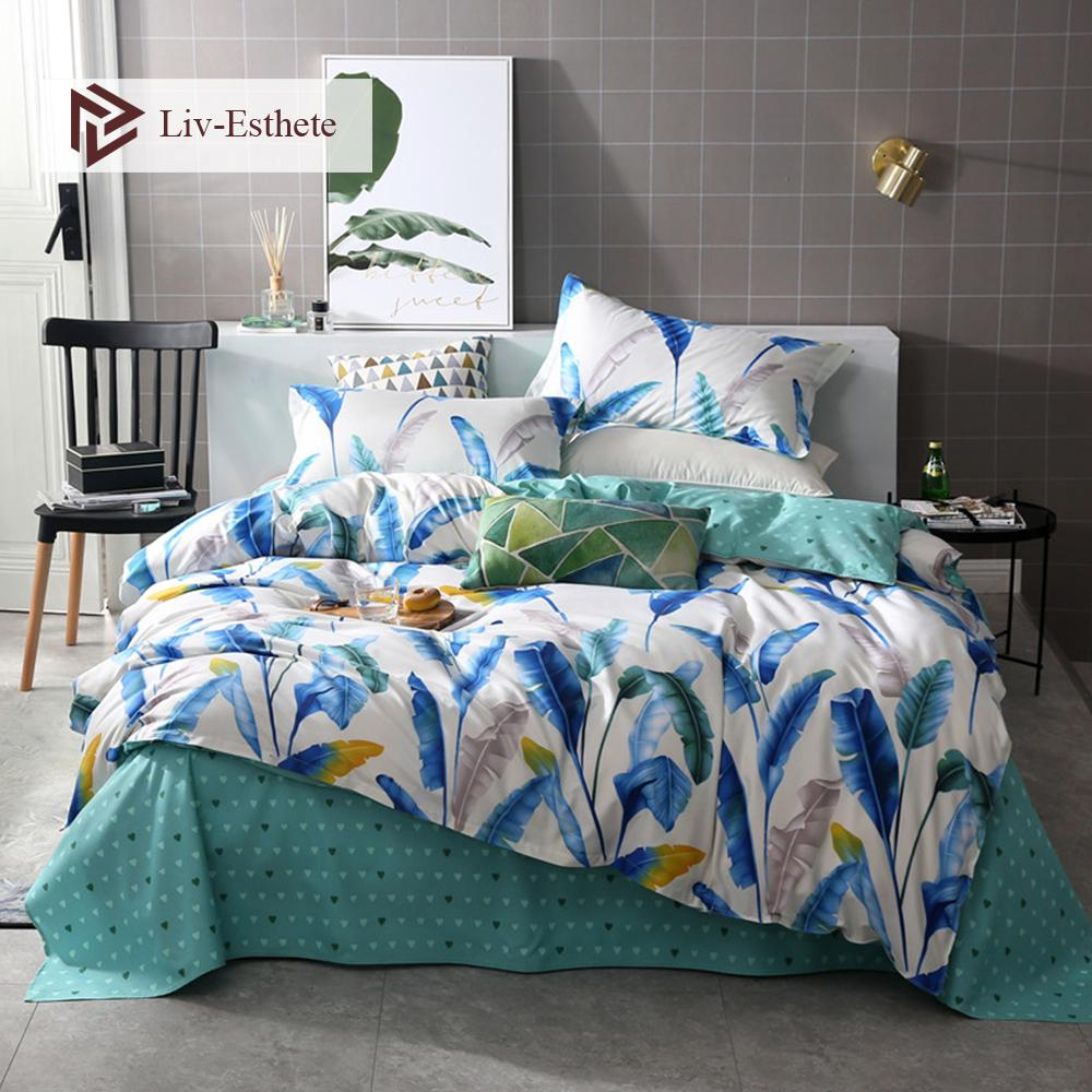 Liv-Esthete Fashion Feather Bedding Set Double Queen King Duvet Cover Pillowcase Green Flat Sheet Bed Linen For Adult Bedspread