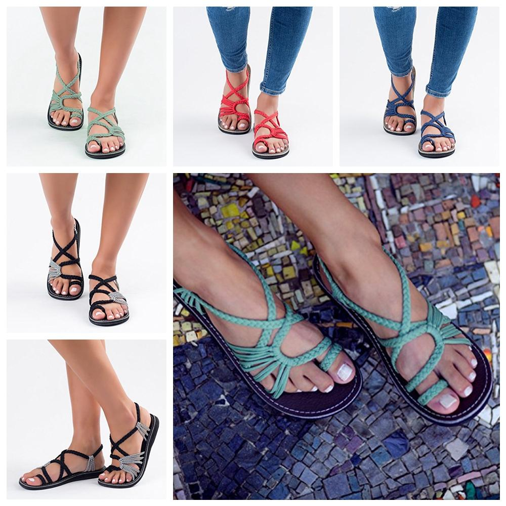 ccec93b36f20 2019 Braid Strap Sandals Europe And America Lady Beach Open Toe Flat  Bottomed Women Boho Summer Shoes AAA1939 From Nb sport