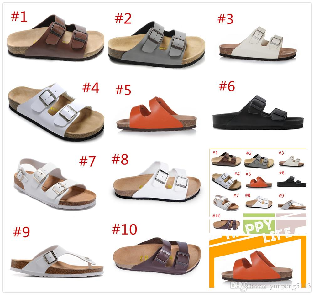 2e2b68a96935d2 New Famous Brand Arizona Flat Sandals Cheap Men Women Various Colors Casual  Shoes Buckle Summer Beach Top Quality Genuine Leather Slippe Cheap Boots  High ...