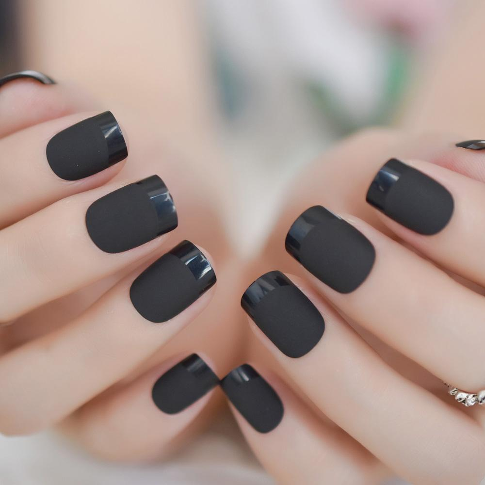 French Square Carbon Black Nails Matte Gel Layered Nails Design Glossy  Stylish False With Sticker 24