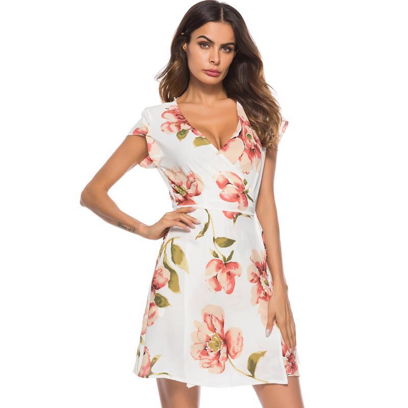 86053a60 2019 New Women Chiffon Dress Floral Print V Neck Short Sleeve Summer Beach  Wrap Dress Tie Waist Slim Elegant Mini Dress White Discount Cocktail Dresses  ...