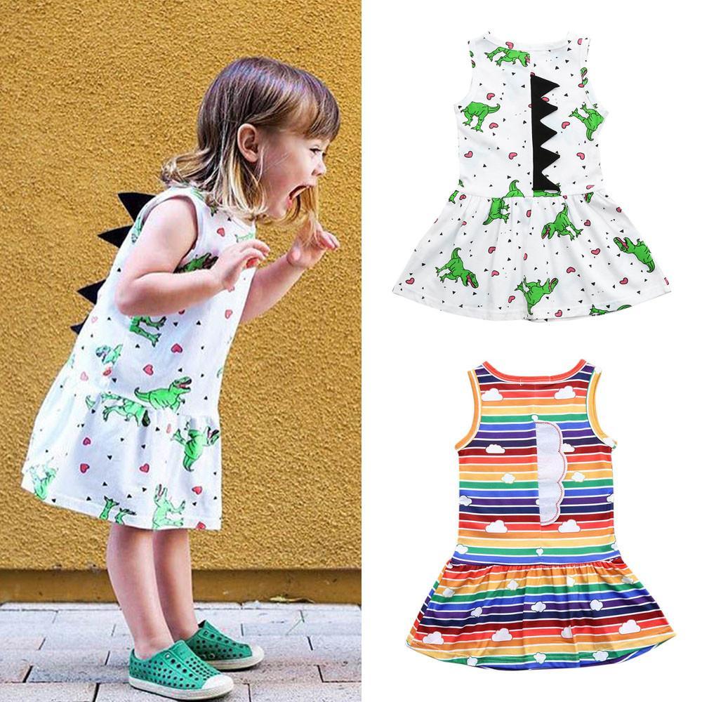 79700569b Compre Niñas Vestidos De Verano Vestido Para Niñas Pequeñas Bebés Y  Dinosaurios Dibujos Animados Estampado A Rayas Dorsal 3D Trajes Princesa  Fiesta # VB10 A ...