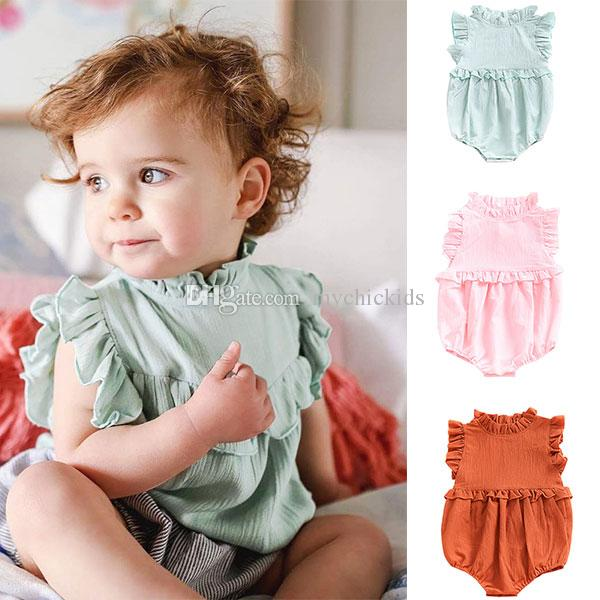 98158cfdc189 INS Three Color Baby Girl Rompers Ruffle Girl Jumpsuits Baby Kids ...