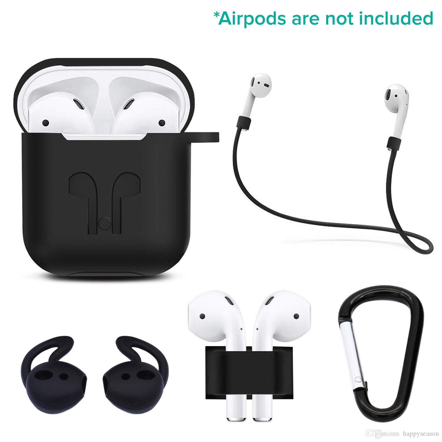 check out e309b 6d825 5 in 1 Silicone Case Kit for Apple Airpods Charging Case Cover Earphone  Anti-lost Strap Protective Shell Skin Strap