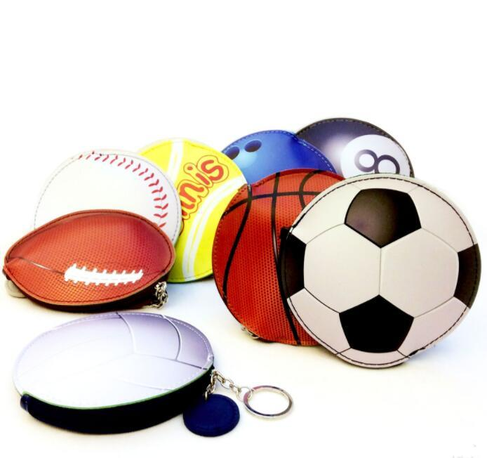 Basketball Coin Purse Baseball Football Bags Keychains Cartoon Wallet Pu Sports Pocket Change Money Bag Key Card Holder Pouch Gga1890