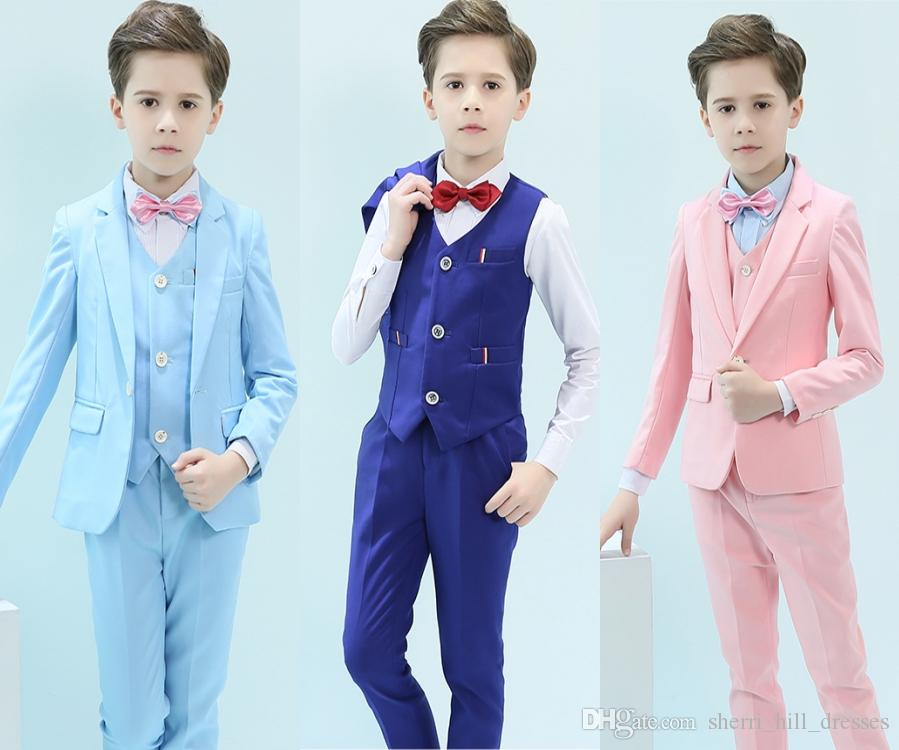 d04746e9c10e Guapo, un botón, muesca, solapa, niño, diseñador completo, guapo, azul  cielo, niño, traje de boda, traje de niños (chaqueta pantalón corbata  chaleco)