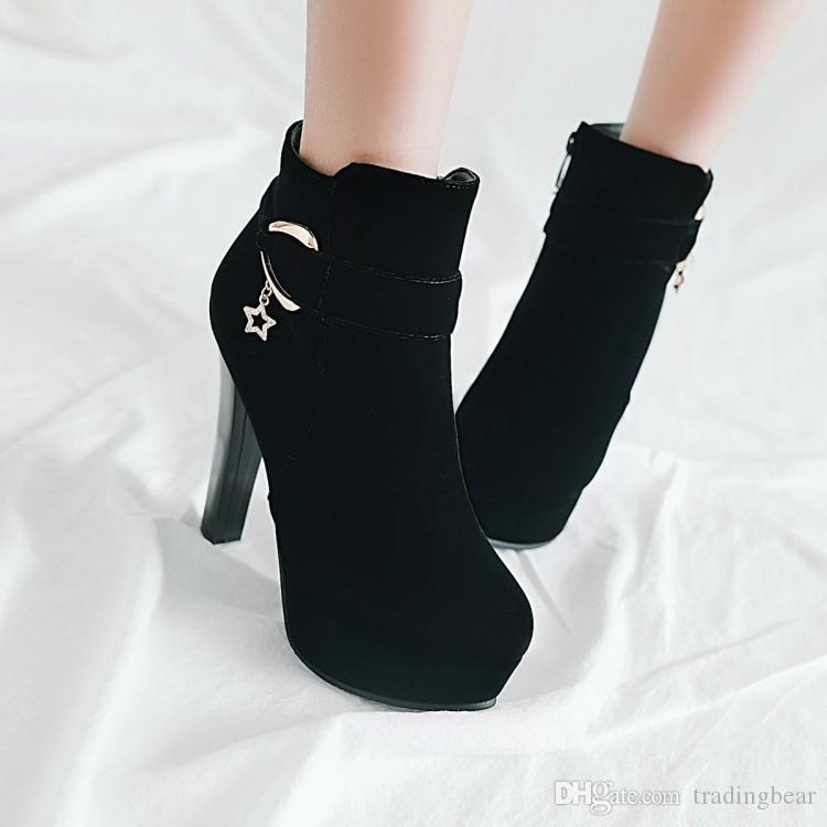 tamaño grande de 34 a 42 43 gruesos botines del tobillo del talón de diseñadores de lujo de invierno las mujeres botas de plataforma de ante Rojo elegante negro azul beige