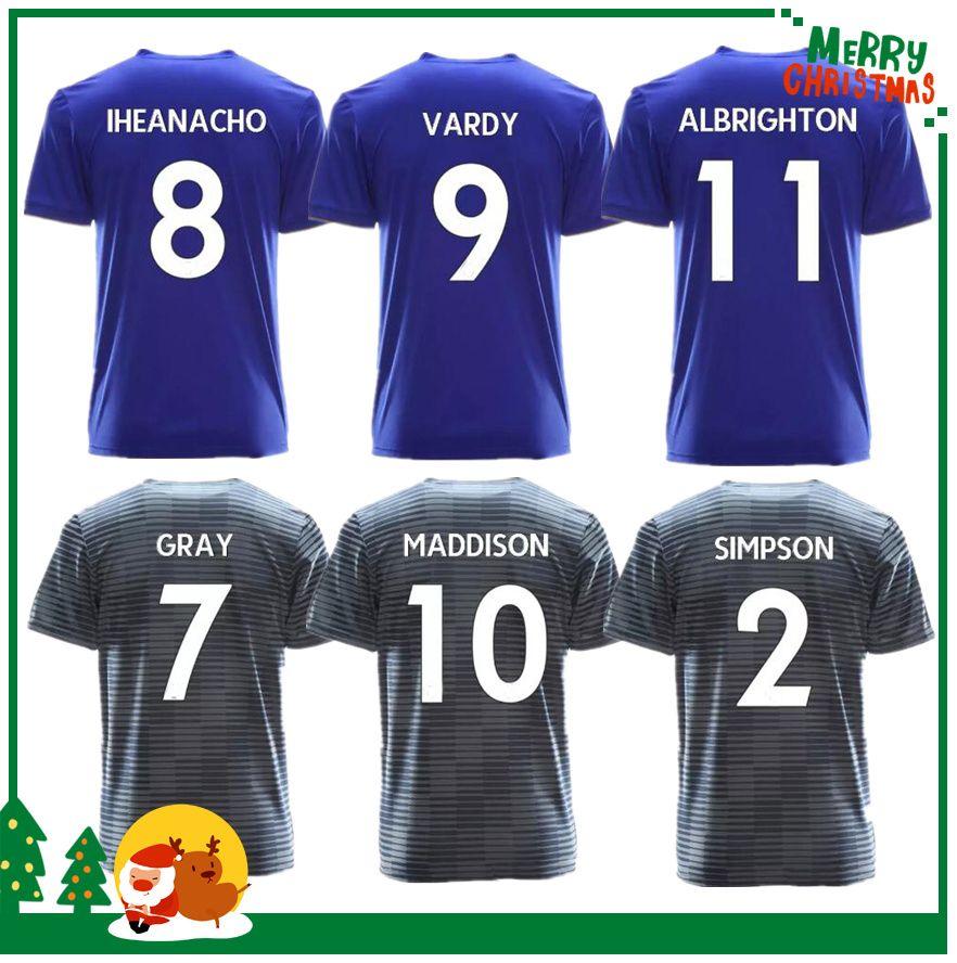 93116fca0 2018 2019 City Home Visitante Azul Gris Camisetas De Fútbol 18 19 MAHREZ  KINO SLIMANI VARDY HUTM ULLOA HOMBRE Camiseta De Fútbol Por Kongjunlin