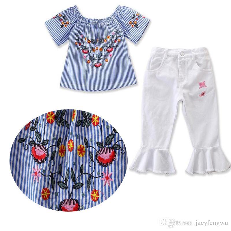 631cf5f79e6 Compre Boutique De Calidad Ropa Para Niñas Ropa Para Bebés Ropa Para Niños  Conjuntos Bordados Blusa De Algodón Vestido Niños Ropa Camisetas Pantalones  ...