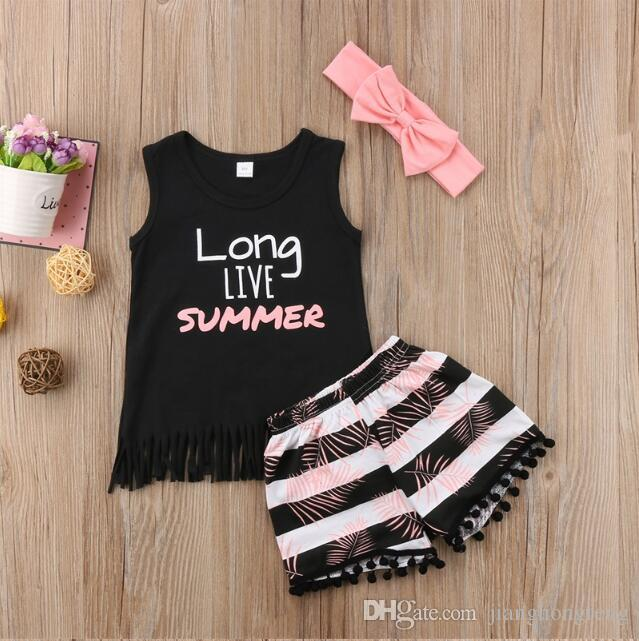 Summer Cute Children Toddler Kid Baby Girl Clothes Vest Top T shirt+ Short Pant Headband 3PCS Outfit Clothing Set 2-6Y