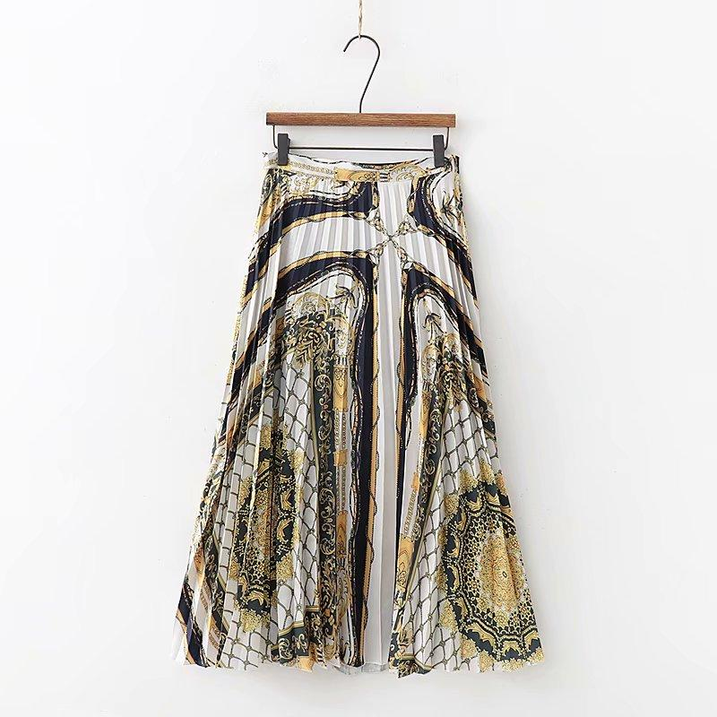1693b661e 2019 moda mujer patchwork cadena retro midi falda faldas mujer cremallera  lateral irregular dobladillo casual faldas plisadas QUN256