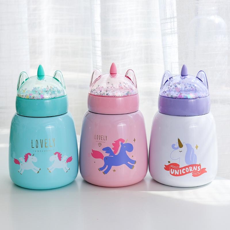 New Cute Unicorn Thermos Stainless Steel Vacuum Flask Termos Girl Portable  Thermal Insulated Thermocup Coffee Tea Mug 330ml