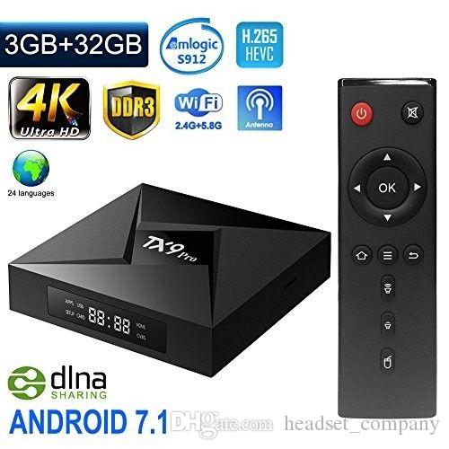 TX9 Pro-TV-Box Amlogic S912 Octa-Core-Set-Top-TV-Box CPU für Android 7.1 OS-Bluetooth-4.1