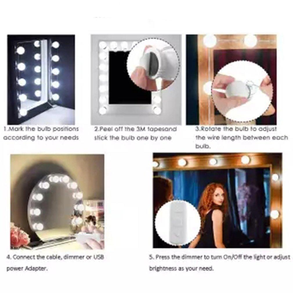 promo code d53e2 fa642 10 Dimmable Led Mirror Light Bathroom Waterproof Light Mirror Front Led for  Makeup Dressing Table Toilet EU/US PLUG