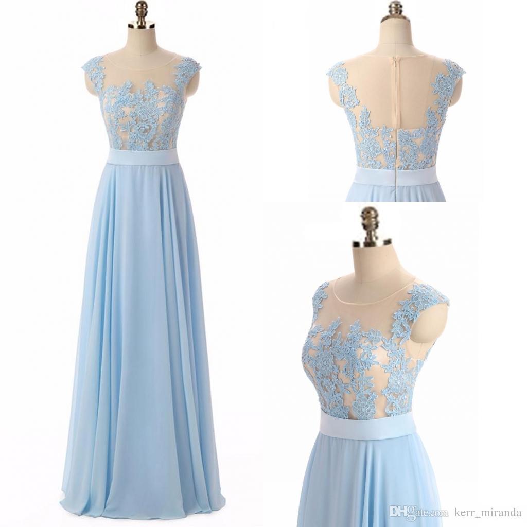 3464d83d1 Compre Niñas Vestidos De Color Azul Cielo Elegante Sexy Collar Circular  Apliques Una Línea De Gasa Fiesta Larga Vestidos De Noche Formales Vestidos  Para ...