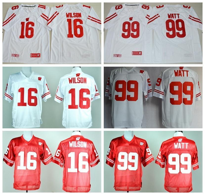pretty nice 8eaa0 2136d Free Shipping Ncaa Wisconsin Badgers Football Jerseys College 16 Russell  Wilson Jersey Shirt 99 J.j. Jj Watt Home Red Away White Uniform