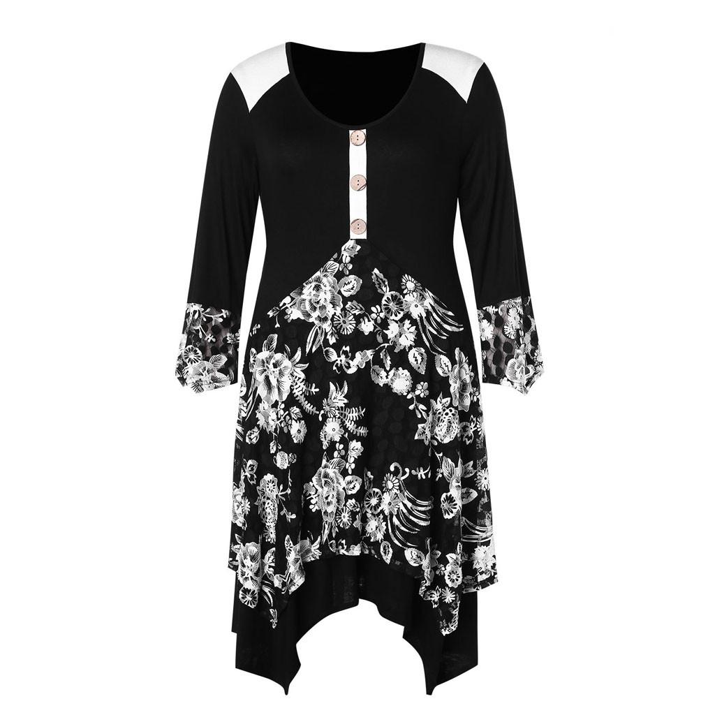 2a65740834b35 Plus Size Dress 4XL Womens Summer Spring Robe Femme Vintage Printed Long  Sleeve Long Shirts Tunic Ladies Clothes Vestidos  1226 Lady Dress Evening  Dresses ...