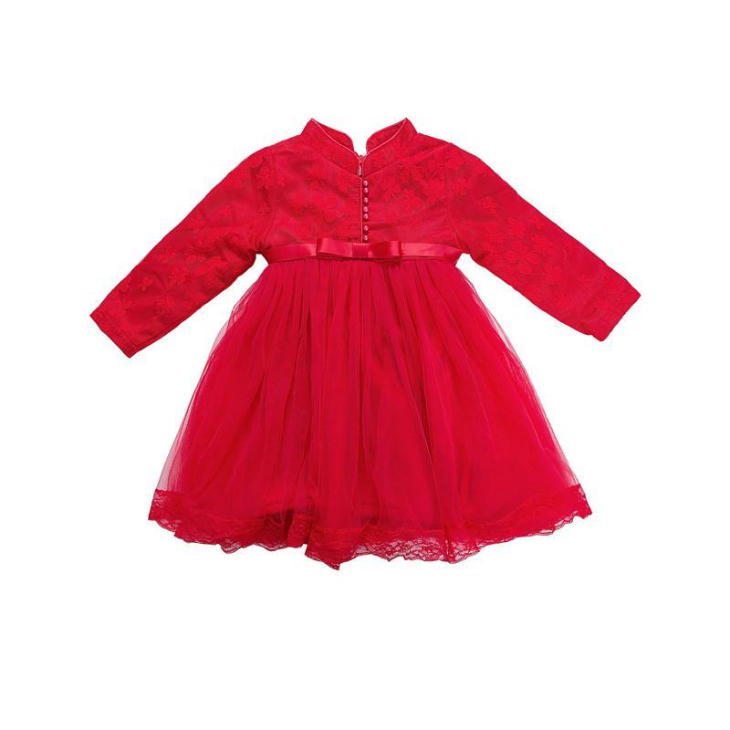 best cheap f3242 50f9a WLG capodanno ragazze abiti invernali bambini velluto patchwork floreale  vestito maglia rosso caldo vestiti spessi bambini 3-7 anni