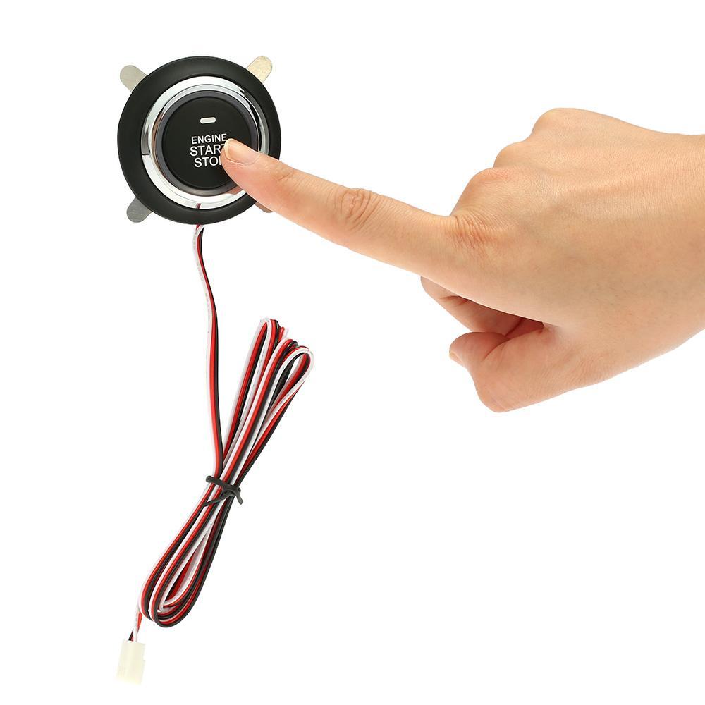 Freeshipping carro alarme auto motor empurrão com auto start stop botão de partida remota de ignição para estrela central de travamento com controle remoto