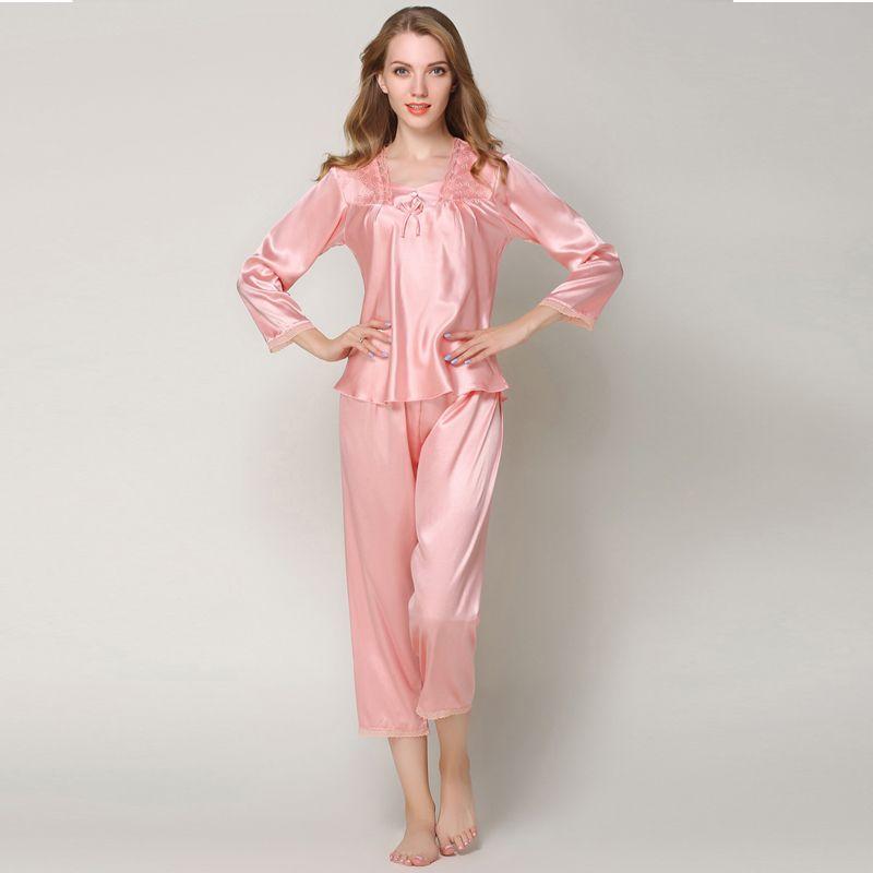 7e1c61df9 Compre Doce Outono Conjuntos De Pijama De Cetim De Seda Pijama Feminino  Pijama Terno Pijamas Mulheres Em Casa Desgaste Do Bebê Tops Plus Size  Pijama Mujer ...