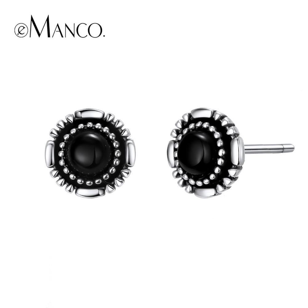 58b586e7c E-Manco 925 Sterling Silver Black Glass Earrings Party Prevent ...