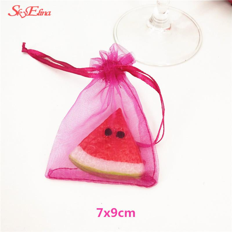 Drawable Organza Bags Wedding Gift Bags 7X9 small Jewelry Packaging Bag tulle fabric Organza Sheer Bags 6Z