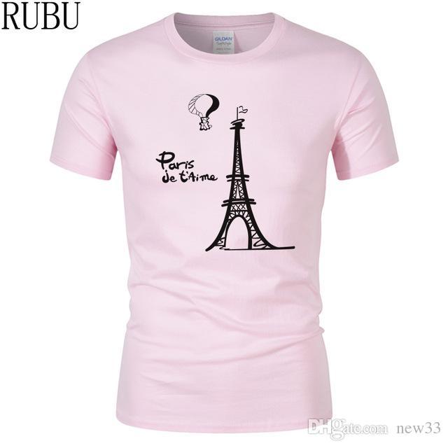 8c2d64cfd0 2019 Mens Designer T Shirts Fashion Homme T Shirt Creative Design Men T  Shirt Sleeve Eiffel Tower Clothes Printed Cartoon Cotton Tee Shirt Design 1  T Shirt ...