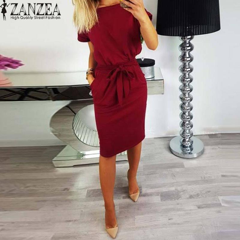 4c23c58ae140 2019 Zanzea 2018 Summer Dress Women Knee Length Vestido Casual Bodycon Robe  Femme Batwing Short Sleeve Dresses Sundress Plus Size 5xl Y19012201 From ...