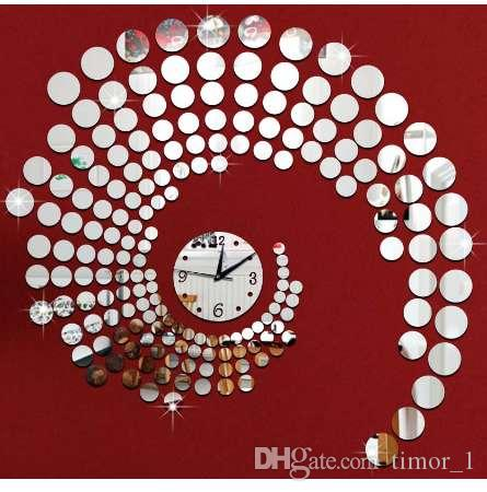 3d circle mirror wall stickers large decorative wall clocks home