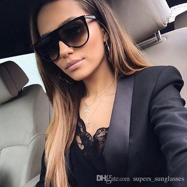 047853a635 Thin Flat Top Sunglasses Women Luxury Brand Designer Retro Vintage Sun Glasses  Female Kim Kardashian Sunglasses Clear Glass Sunglasses Brands Best ...
