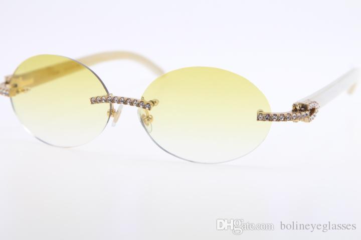224b6469f2 Compre 2019 Gafas De Sol Al Por Mayor Nuevo Diamante Grande Sin Montura  Blanco Genuino Natural Cuerno Gafas De Sol 3524012 Piedra Gafas Oval Unisex  Lente ...