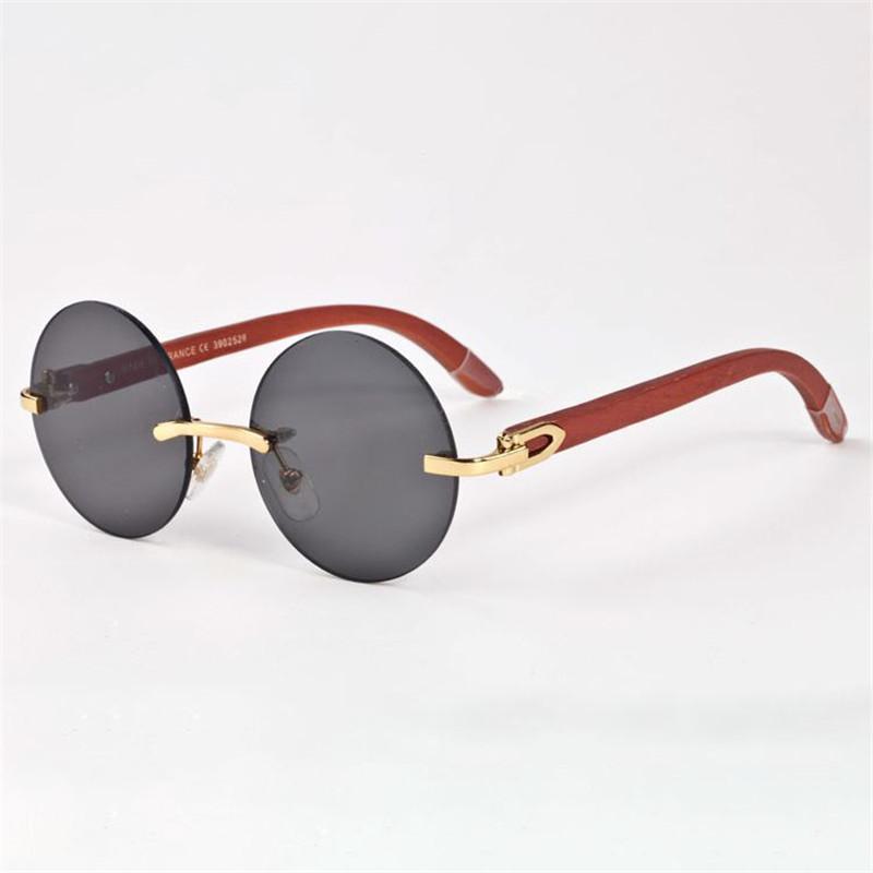 bc6131a9c Vazrobe Rodada Óculos De Sol Dos Homens Marca De Madeira Óculos De Sol para  o Homem Mulheres De Luxo Design de Famosa De Madeira Perna De Óculos De Sol  Anti ...