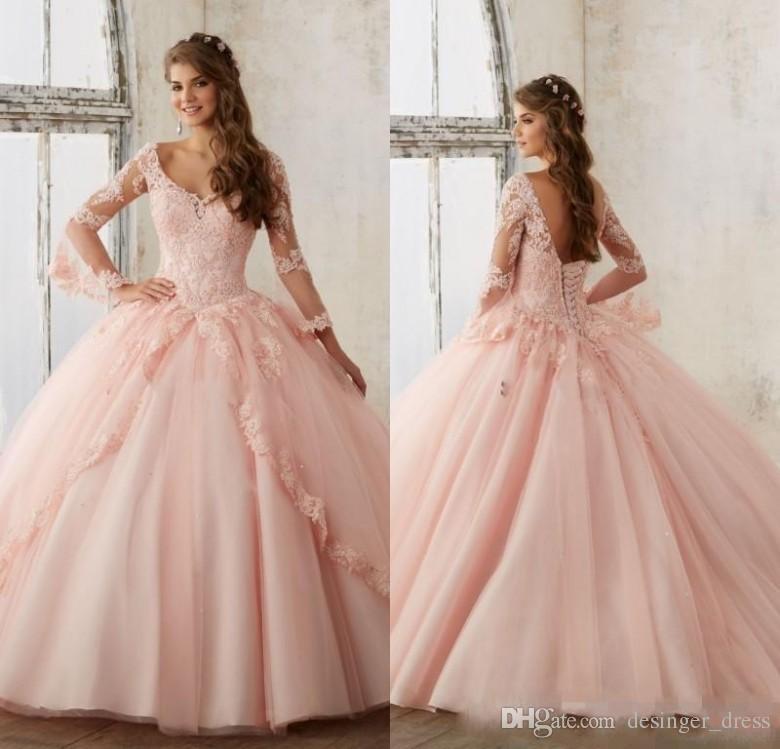 e454edeff Compre Vintage Sweet 16 Pink Quinceanera Vestidos 2019 Apliques De Encaje  Mangas Largas Cuello Cuadrado Vestido De Fiesta Vestido De Fiesta Vestidos  15 Años ...