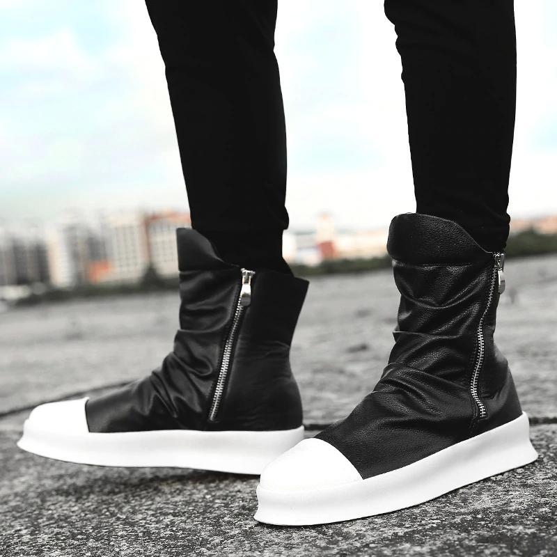Compre Hip Hop Moda Otoño Invierno Hombres Botas Chelsea Zapatos De Vestir  Sin Cordones Baile Calzado Plataforma Zapatillas Altas Martin Botas A  74.3  Del ... 488eaaa4cb7