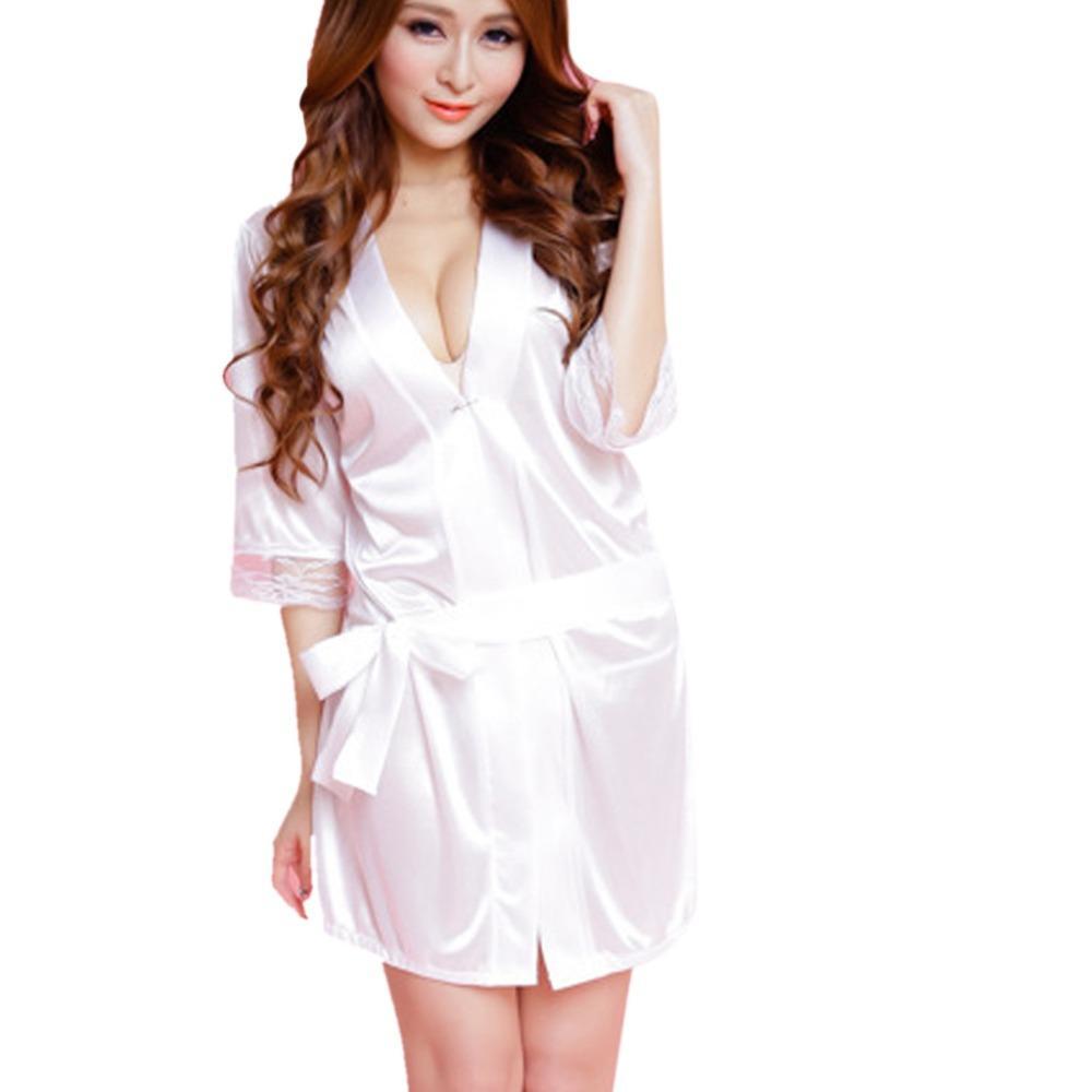 03ff666fcf4 2019 Fashion Women Sexy Lace Lingerie Nightwear Silk Underwear Robe  Babydoll Sleepwear Dress Lingerie Clothes Night Dress Y0129 From Tielian