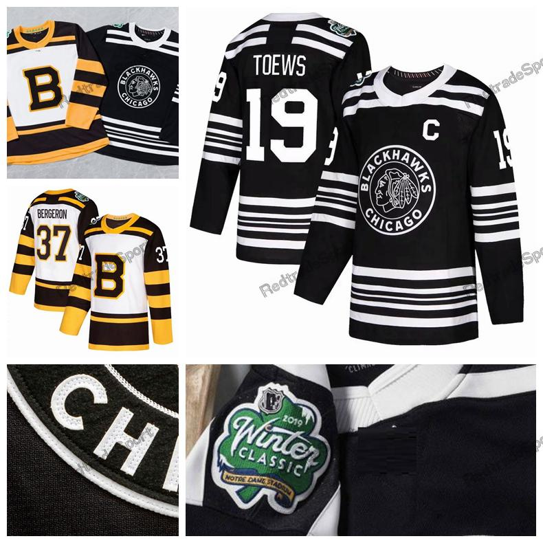 2019 Winter Classic Chicago Blackhawks Jonathan Toews Patrick Kane Hossa Keith Crawford Boston Bruins Bergeron Chara Marchand Maglie da hockey