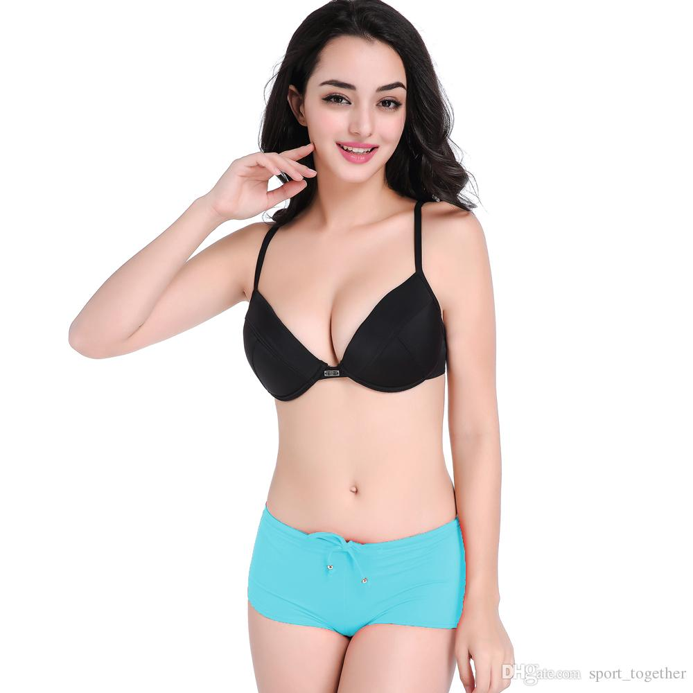 d9a9005cc85 2019 Europe And The United States Show Thin Swimsuit BIKINI Chest Steel  Supporting Fission Female Together Small Breasts Sexy BIKINI Beach Hot Sp  From ...